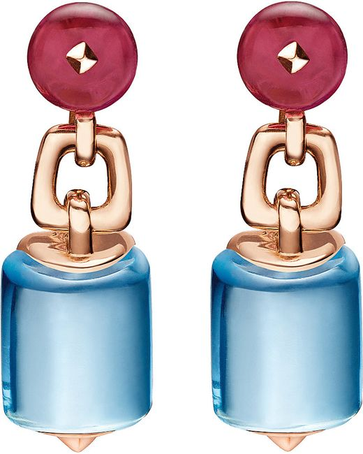 BVLGARI | Mvsa 18kt Pink-gold Earrings With Blue Topaz And Rubellite Beads | Lyst