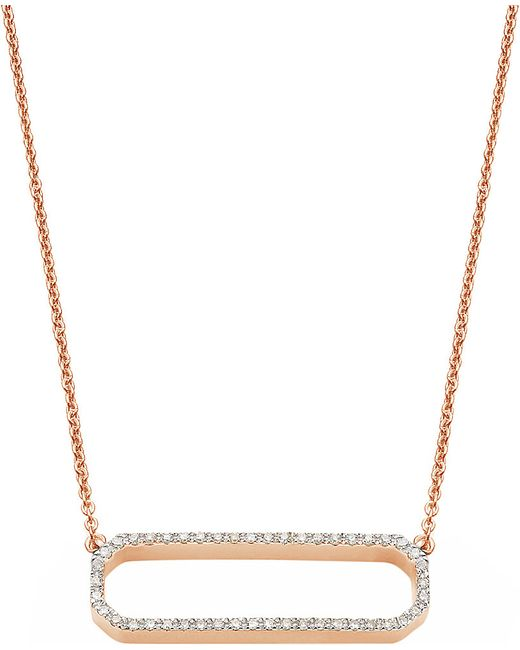 Monica Vinader | Pink Naida Open Rectangle Rose Gold-vermeil And Diamond Necklace | Lyst