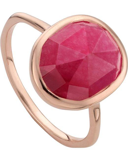 Monica Vinader | Metallic Siren 18ct Rose Gold Vermeil And Pink Quartz Stacking Ring | Lyst