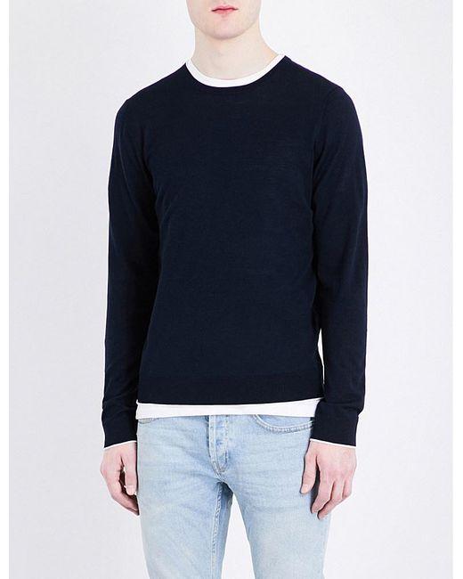 Sandro   Blue E17 Fine-knit Pure-wool Jumper for Men   Lyst