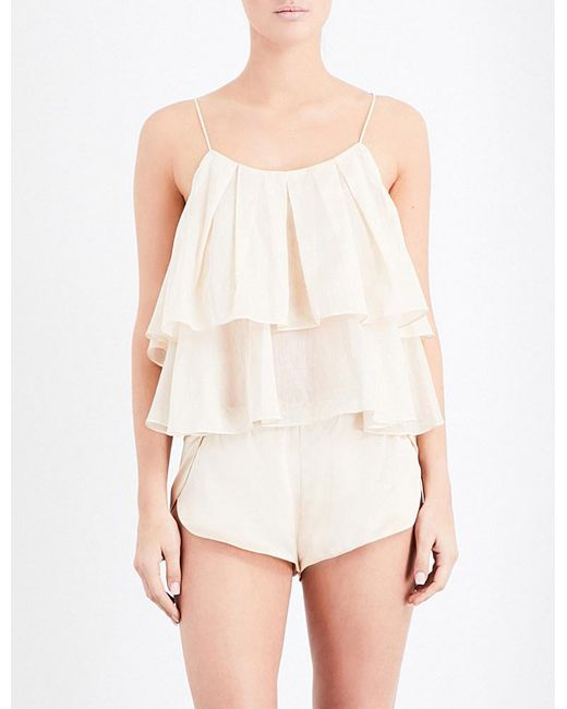 Three Graces London | Natural Francis Ruffled Cotton Top | Lyst