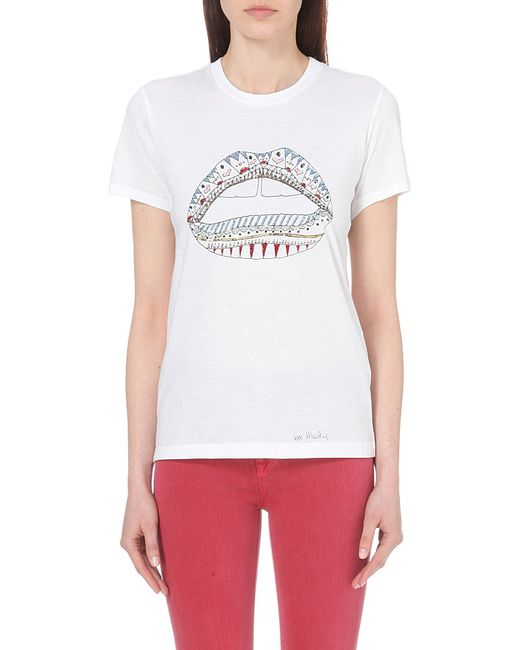 Markus Lupfer Kate Lip Cotton Jersey T Shirt In White Lyst