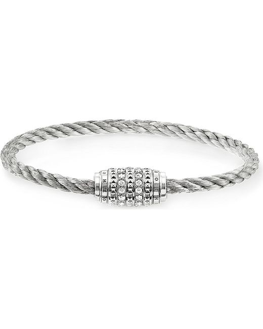 Thomas Sabo | Metallic Rebel At Heart Sterling Silver And Zirconia-pavé Bracelet | Lyst