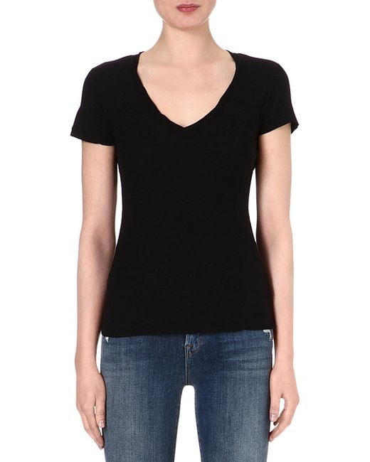 James Perse | Black V-neck Jersey T-shirt | Lyst