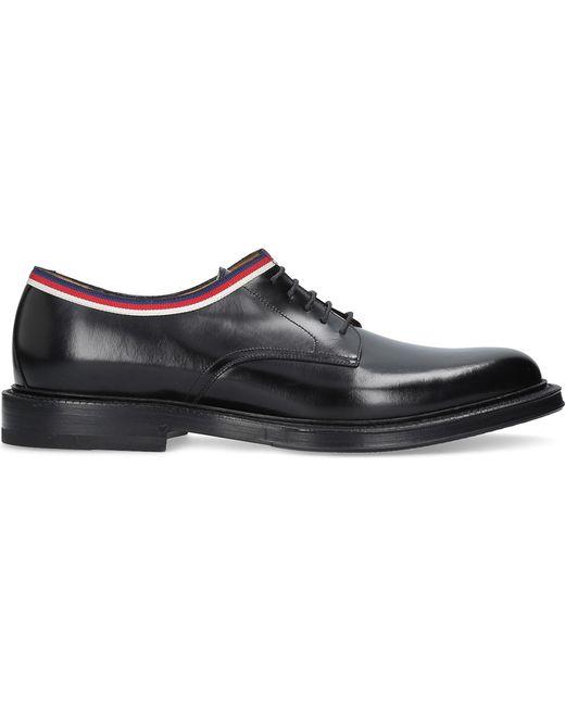 Gucci - Black Beyond Web Trim Leather Derby Shoes for Men - Lyst