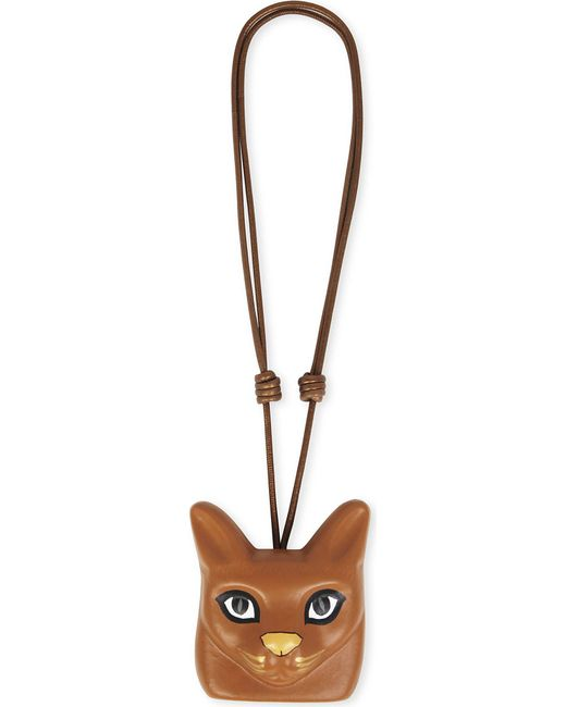 Loewe | Brown Cat Face Leather Necklace | Lyst