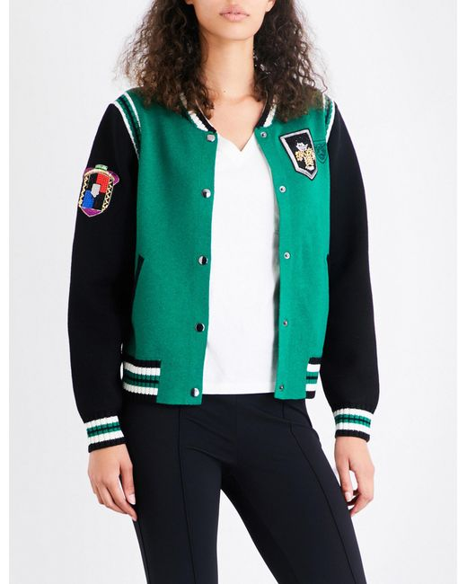 Maje | Green Mat Knitted Bomber Jacket | Lyst