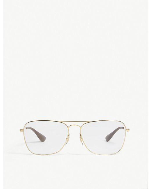 lyst ray ban rb3610v square frame glasses in metallic for men  ray ban metallic rb3610v square frame glasses for men lyst