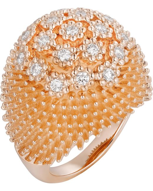 Cartier - Metallic Pink Gold And Diamond Cactus De Bulb Ring - Lyst
