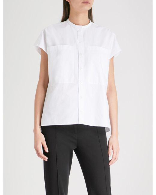 4f14aebb418 JOSEPH Isaac Band Collar Cotton Shirt in White - Lyst