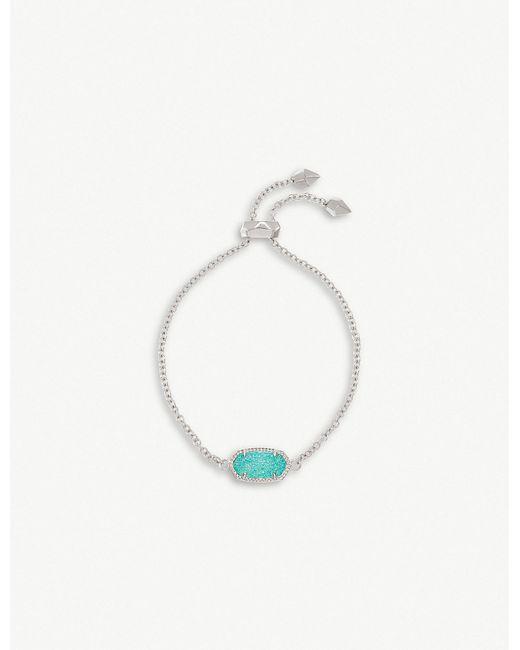 Kendra Scott - Blue Elaina Rhodium-plated And Teal Drusy Chain Bracelet - Lyst