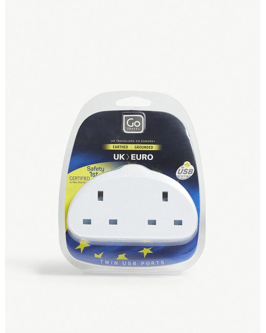Go Travel - White Uk To Europe Double Plug Adapter With Twin Usb Ports for Men - Lyst