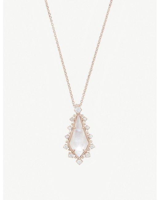 Kendra Scott - White Shelly 14ct Rose Gold-plated And Ivory Mother-of-pearl Necklace - Lyst