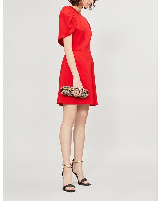 Vestido rojo de en mezcla Lyst espalda espalda de de Alexander lana Mcqueen la con 7wY7prEq