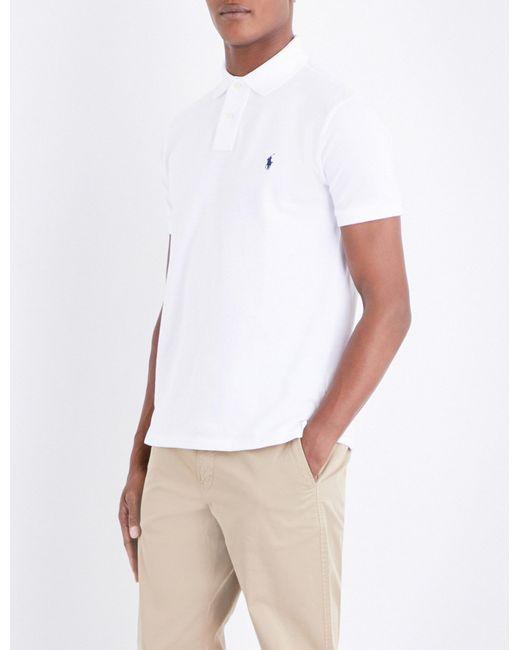 7270286f2 Polo Ralph Lauren - White Custom Slim-fit Cotton Polo Shirt for Men - Lyst