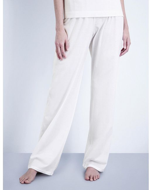 Hanro - White Deluxe Cotton-jersey Pyjama Bottoms - Lyst
