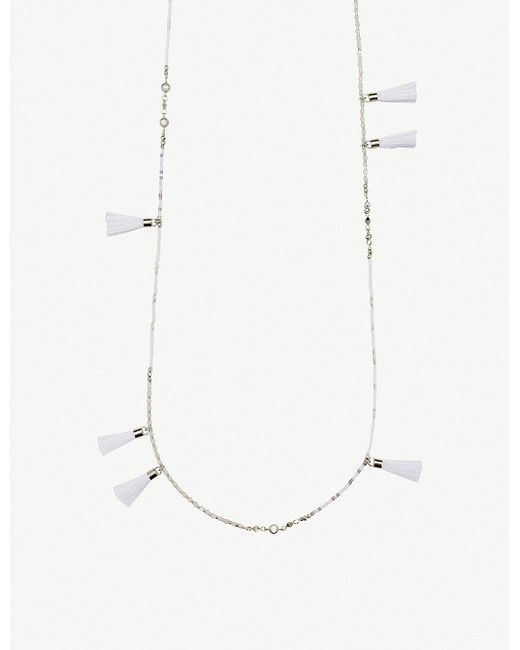 Kendra Scott - White Augusta Rhodium-plated And Ivory Mother-of-pearl Tassel Necklace - Lyst
