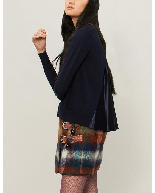 Sacai - Blue Satin-panel Wool Cardigan - Lyst