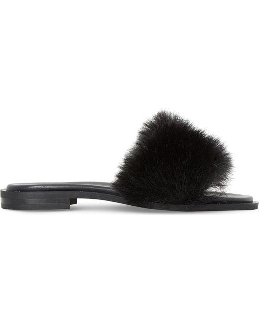 Dune Black | Black Lorel Faux-fur Sandals | Lyst