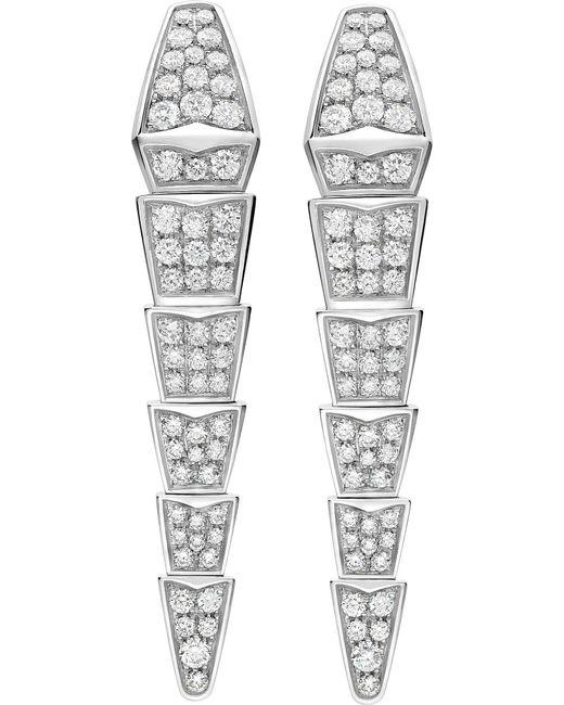 BVLGARI | Metallic Serpenti 18kt White-gold Earrings With Full Pavé Diamonds | Lyst
