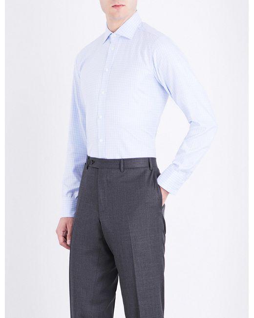 Turnbull & Asser | Blue Basketweave Slim-fit Cotton Shirt for Men | Lyst
