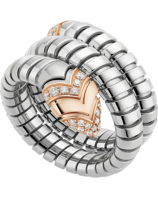 BVLGARI - Metallic Serpenti Tubogas 18ct Pink-gold, Diamond And Stainless Steel Ring - For Women - Lyst