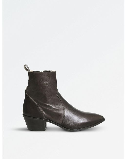 Office - Brown Auburn Leather Ankle Boots - Lyst