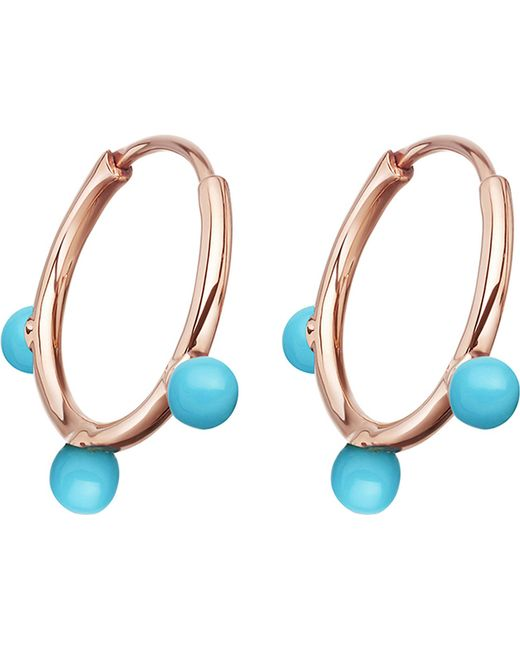 Astley Clarke - Metallic Hazel Rose-gold Vermeil & Turquoise Hoop Earrings - Lyst