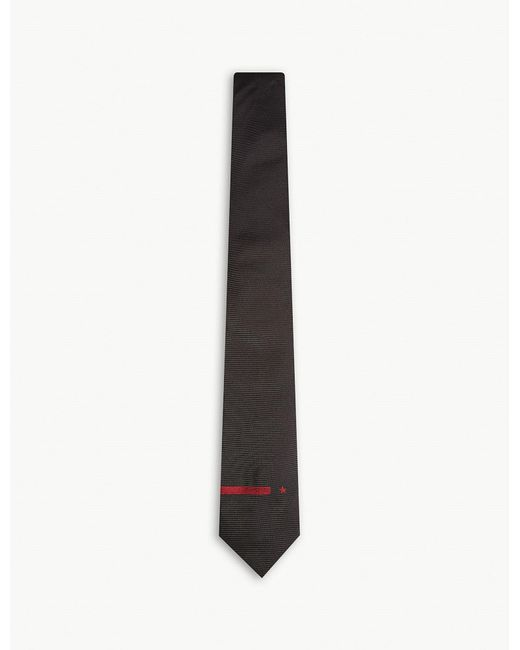 Givenchy - Black Stripe And Star Solid Silk Tie for Men - Lyst