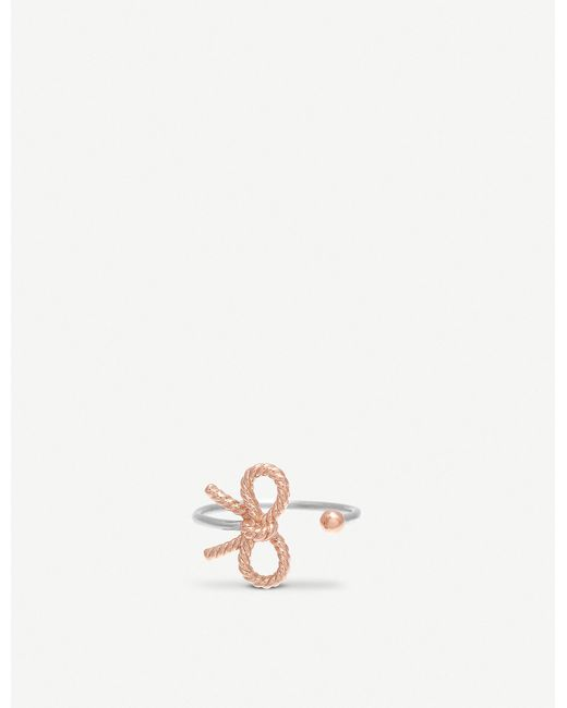 Olivia Burton - Metallic Bow Sterling Silver And 18ct Rose Gold-plated Ring - Lyst