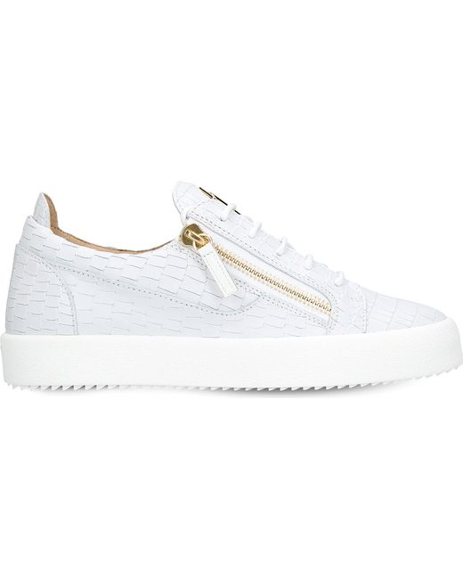 Giuseppe Zanotti - White Croc-embossed Low-top Leather Trainers - Lyst