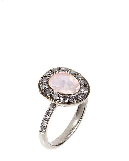 Annoushka - Metallic Dusty Diamonds 18Ct White-Gold, Rose Quartz And Grey Diamond Ring - Lyst