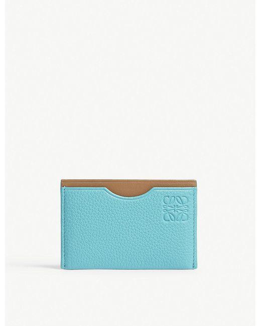 Loewe - Blue Simple Leather Cardholder - Lyst