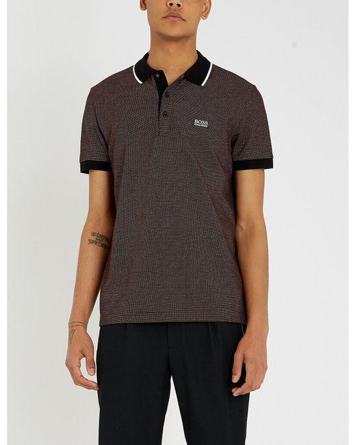 7ac5f9f5 Boss Contrast Collar Cotton-piqué Polo Shirt in Black for Men - Lyst