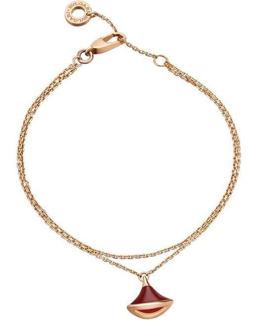 BVLGARI - Divas' Dream 18kt Pink-gold And Carnelian Bracelet - Lyst