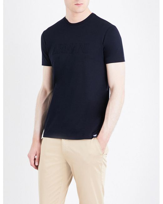 Armani Jeans | Blue Branded Cotton T-shirt for Men | Lyst