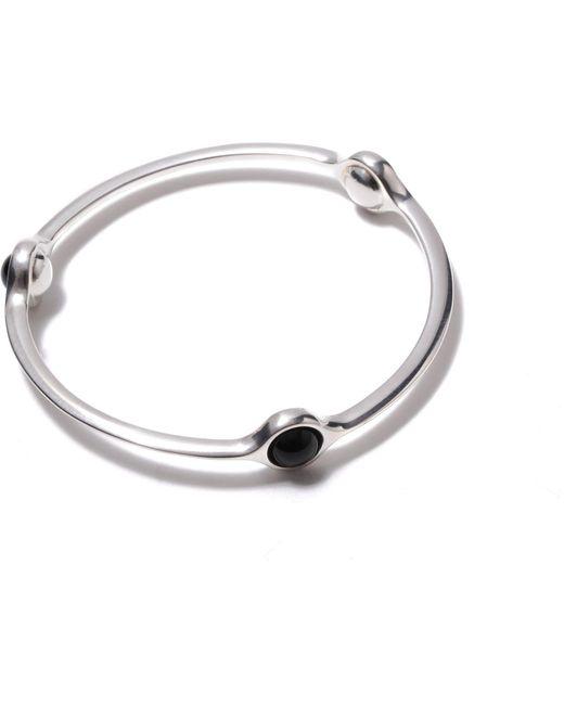 Georg Jensen - Metallic Sphere Sterling Silver Black Agate Bangle - Lyst