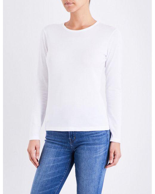 Sunspel   White Long-sleeve Cotton-jersey Top   Lyst