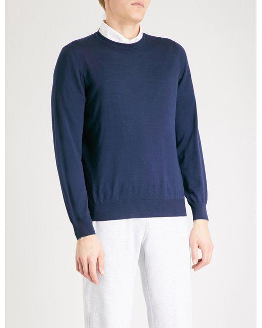 Brunello Cucinelli   Blue Crewneck Wool And Cashmere Jumper for Men   Lyst
