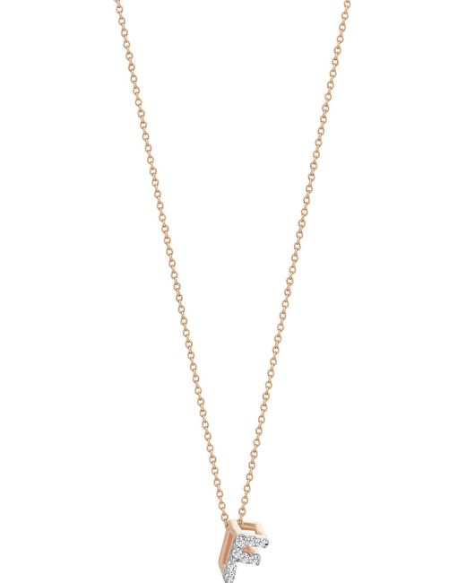 The Alkemistry - Metallic Letter F 14ct Rose Gold And Diamond Necklace - Lyst