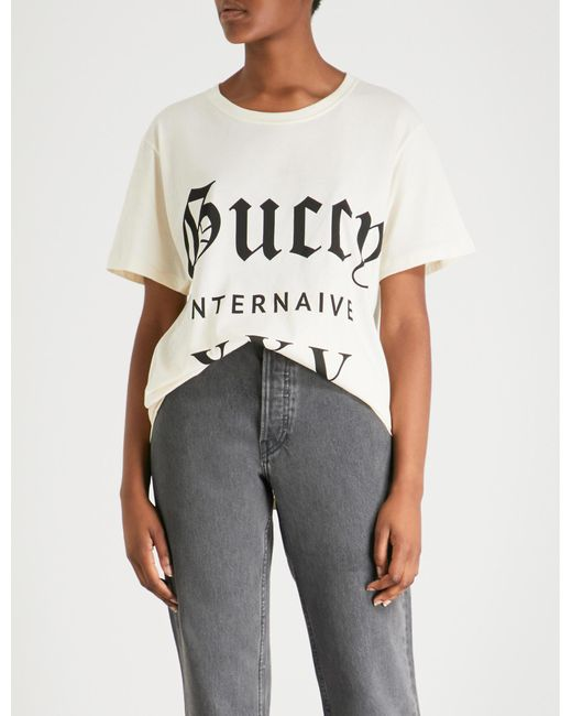 17479a723a3 Gucci - Multicolor Guccy Internaive Xxv Cotton-jersey T-shirt - Lyst