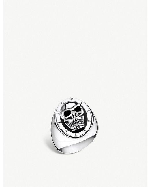 Thomas Sabo - Metallic Skull Silver And Onyx Signet Ring for Men - Lyst