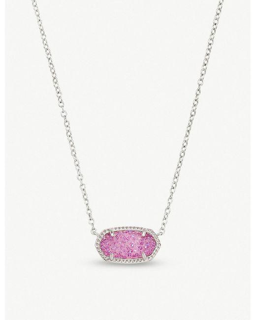 Kendra Scott - Purple Elisa Rhodium-plated And Violet Drusy Pendant Necklace - Lyst