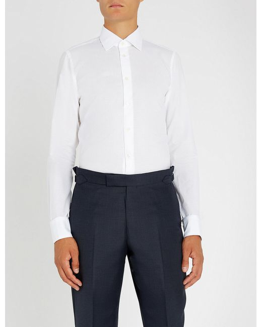Richard James - White Dotted Slim-fit Cotton Shirt for Men - Lyst