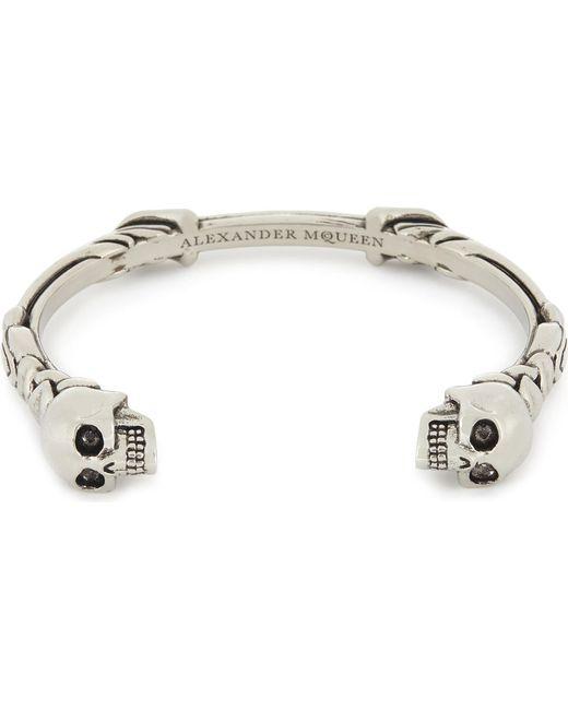 Alexander McQueen - Metallic Twin Textured Skull Bracelet for Men - Lyst