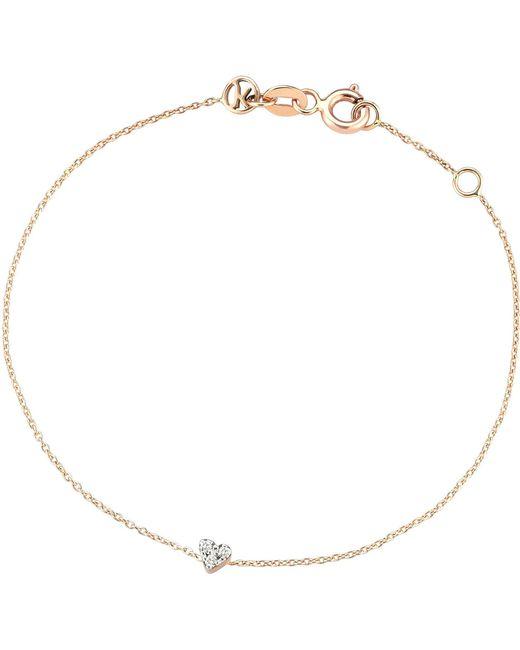 The Alkemistry   Metallic Diamond Heart 14ct Rose-gold Heart Bracelet   Lyst