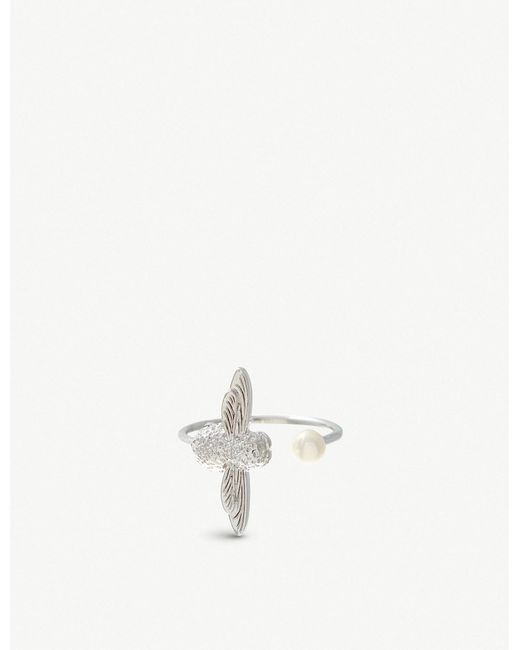 Olivia Burton - Multicolor Pearl Bee Silver-plated And Pearl Ring - Lyst