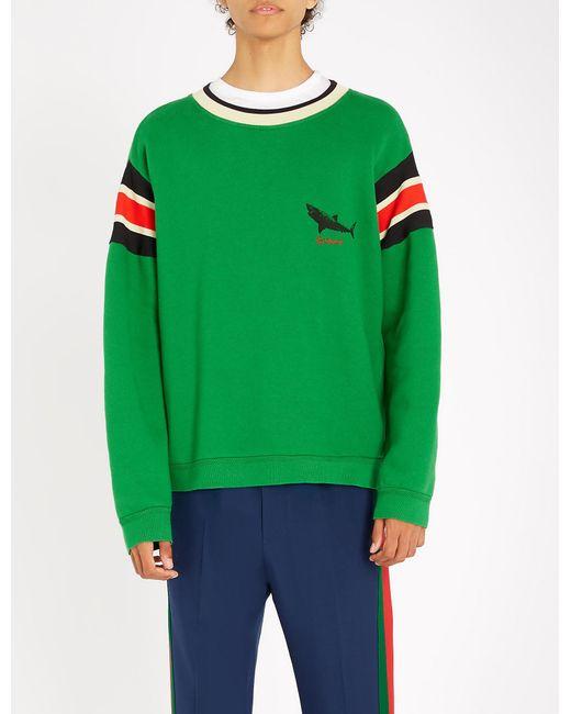 22b6eb6df33 Gucci Shark-print Cotton-jersey Sweatshirt in Green for Men - Lyst