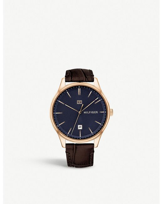Tommy Hilfiger - Metallic 1791493 Damon Rose Gold-plated And Leather Watch for Men - Lyst