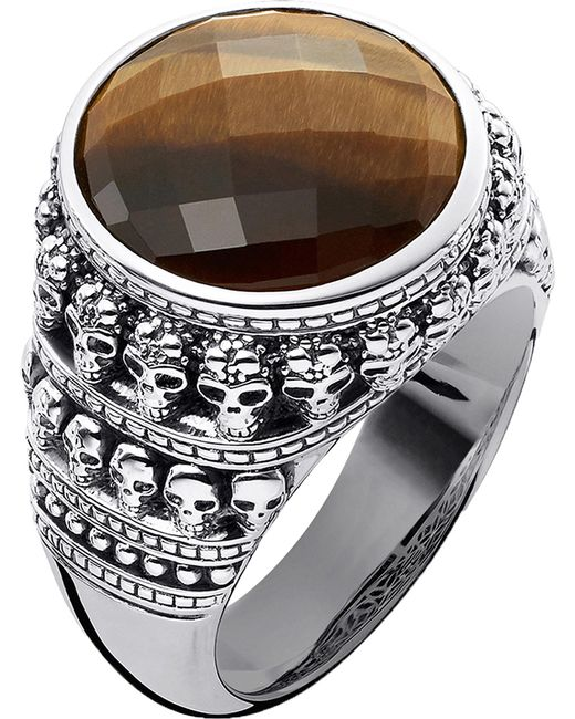 Thomas Sabo - Black Rebel At Heart Tiger's Eye Sterling Silver Ring - Lyst